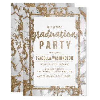 Chic-Gold-u. Marmor-Typografie-Abschluss-Party Karte