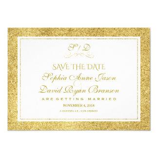 Chic-Gold und weiße Grenze, die Save the Date Karte