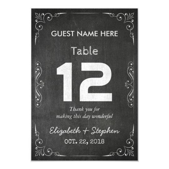 Chic-Hochzeits-Sitzplatz-Platz-Tischnummer-Tafel 8,9 X 12,7 Cm Einladungskarte