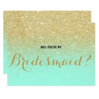 Chic-Imitat-Goldminze sind- Sie meine Brautjungfer 8,9 X 12,7 Cm Einladungskarte