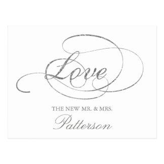 Chic-Imitat-silberne Folien-Hochzeit danken Ihnen Postkarte