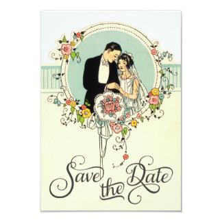 Chic-Kunst-Dekozwanziger jahre Braut u. Bräutigam 8,9 X 12,7 Cm Einladungskarte