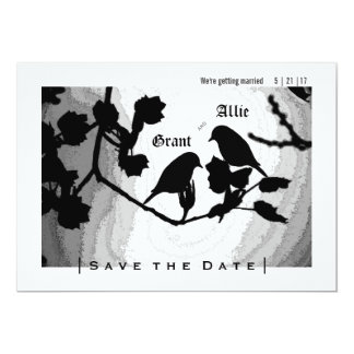 Chic-Liebe-Vogel-Silhouetten lädt Save the Date Karte