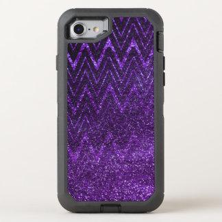 Chic-lila Glitter-Steigungs-Zickzack Muster OtterBox Defender iPhone 8/7 Hülle
