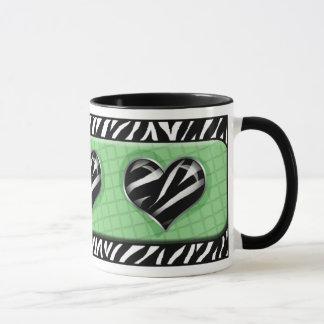 Chic meine Herz-Grünzebra-Druck-Tasse Tasse