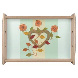 Chic-niedliche Goldherzen mit Blumen Tabletts