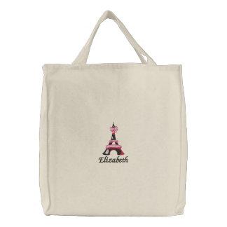 Chic rosa Eiffel-Turm Paris personalisiert Bestickte Tragetasche
