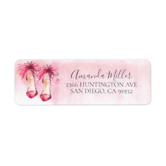 Chic-rosa Heels-Rücksendeadresse-Aufkleber