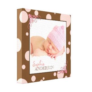 Chic-rosa Polka-Punkt-Baby-Foto Leinwanddruck