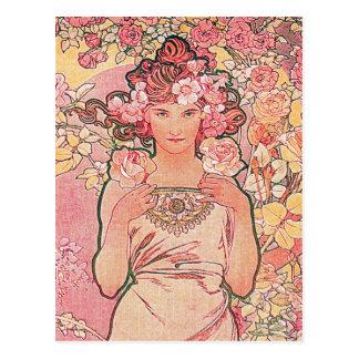 Chic-rosa Rosen-Blumen-Mädchen elegant Postkarte