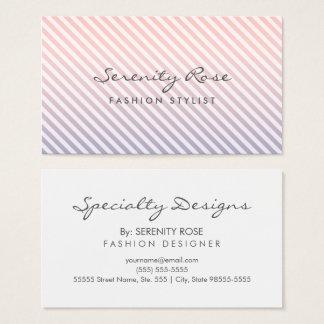 Chic-rosa und lila Ombre Streifen-Mode-Entwurf Visitenkarte
