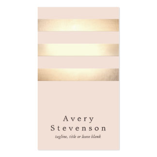 Chic rose-clair moderne rayé d'or élégant de Faux Carte De Visite Standard