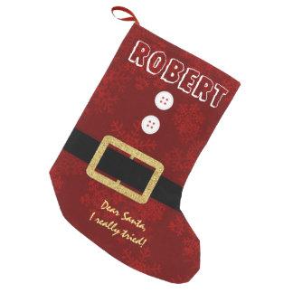 Chic-Sankt-Anzugs-Weihnachtslustige Typografie Kleiner Weihnachtsstrumpf