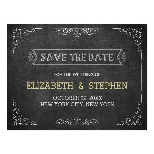 Chic-Schwarz-weiße Tafel, die Save the Date Postkarte