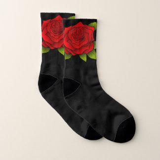 Chic-schwarze Socken mit Rosen-/Blumen-Muster