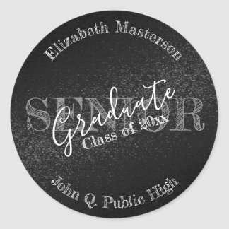 Chic-schwarzer Abschluss-Absolvent-ältere Klasse Runder Aufkleber