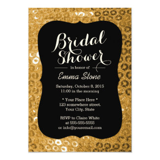 Chic-Schwarzes u. GoldPaillettes Brautparty 12,7 X 17,8 Cm Einladungskarte