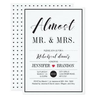 Chic-Typografie-Hochzeits-Proben-Abendessen-Karte 12,7 X 17,8 Cm Einladungskarte