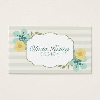 Chic-Vintage Blumenstreifen Visitenkarte