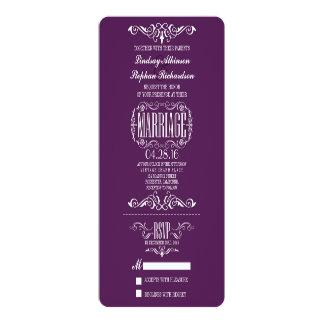 Chic-Vintage Hochzeits-Karten-Einladung 10,2 X 23,5 Cm Einladungskarte