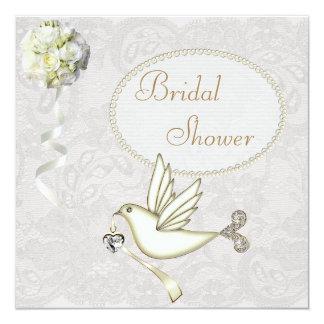 Chic-Weiß-Tauben-Paisley-Spitze-Brautparty Quadratische 13,3 Cm Einladungskarte