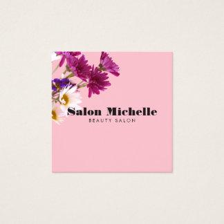 Chic-Wildblumen-und Minimalist-Rosa Quadratische Visitenkarte