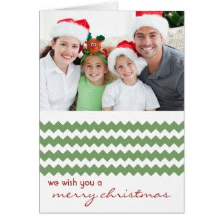Chic-Zickzack Grün gefaltete Weihnachtskarte Karte