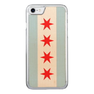 Chicago-Flagge - hölzerner Fall Carved iPhone 7 Hülle