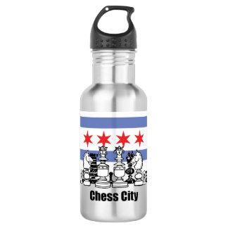 Chicago-Flagge u. Schach-Brett Edelstahlflasche