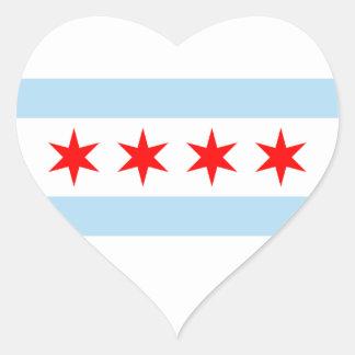 Chicago-Flaggen-Aufkleber Herz-Aufkleber