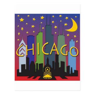 Chicago-Skyline-Nachtleben Postkarte