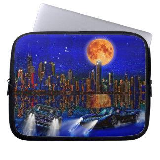 Chicago-Stadt-Skyline und Straße-Laufen Autos Laptopschutzhülle