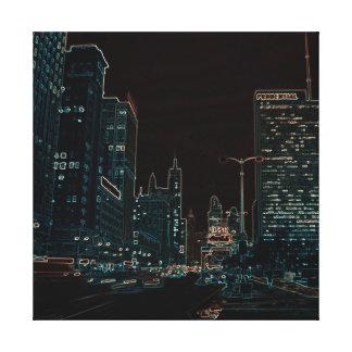 Chicagos Michigan Neonbuntes der Alleen-@ Leinwanddruck
