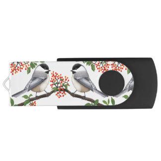 Chickadee-Vögel mit Beeren USB-Blitz-Antrieb USB Stick