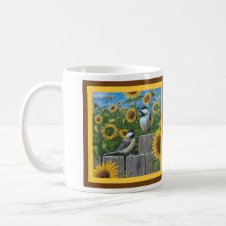 Chickadees und Sonnenblumen Kaffeetasse