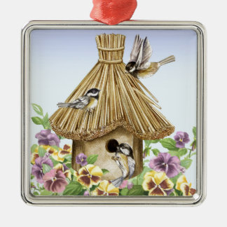 ChickadeesBirdhouse Quadratisches Silberfarbenes Ornament