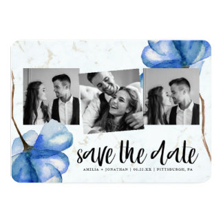 Chicwatercolor-Blume, die Save the Date Foto Karte