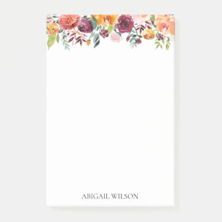Chicwatercolor-mit Blumenpersonalisiertes Post-it Klebezettel