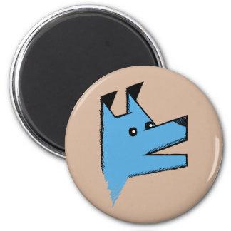 Chien bleu frais d'origami magnet rond 8 cm