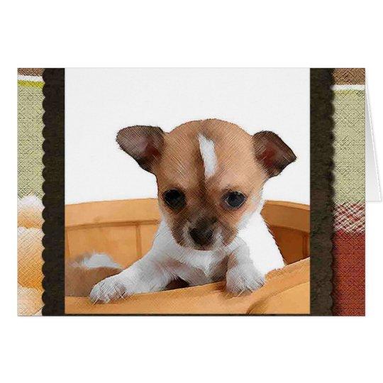 Chihuahua in der Korb-Anmerkungs-Karte Karte