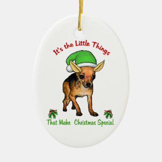 Chihuahua-Liebhaber-Weihnachten Ovales Keramik Ornament
