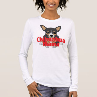 Chihuahua-Mutter Cute Black TAN Langarm T-Shirt
