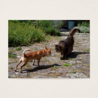 Chihuahua treffen Katze Visitenkarte