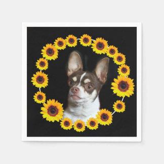 Chihuahua- und Sonnenblumecocktailservietten Papierserviette