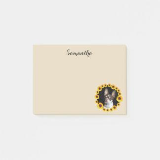 Chihuahua- und Sonnenblumepost-itanmerkungen Post-it Haftnotiz