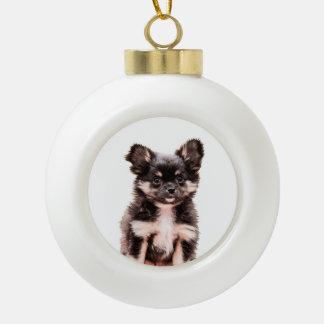 Chihuahua-Weihnachtsfeiertags-runde Keramik Kugel-Ornament