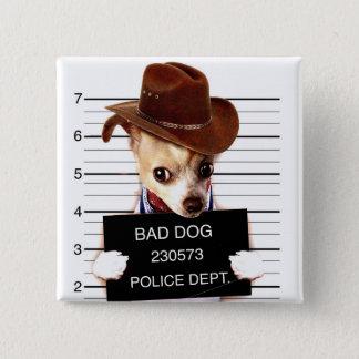 Chihuahuacowboy - Sheriffhund Quadratischer Button 5,1 Cm
