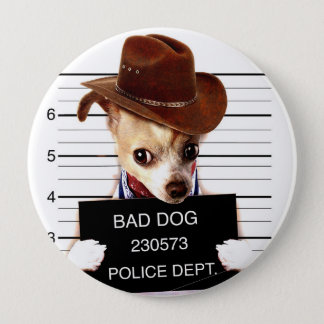 Chihuahuacowboy - Sheriffhund Runder Button 10,2 Cm