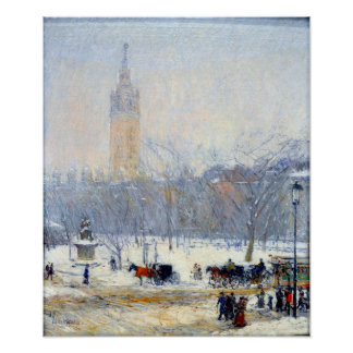 Childe Hassam Schneesturm-Madison-Quadrat Poster