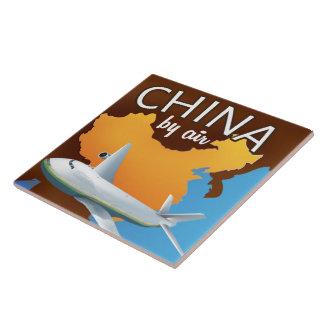 China durch Flugzeugverkehrplakat Fliese